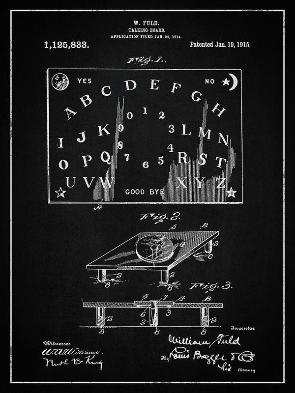 Vintage Talking Board Patent, 1915 - Art Print from Wallasso - The Wall Art Superstore