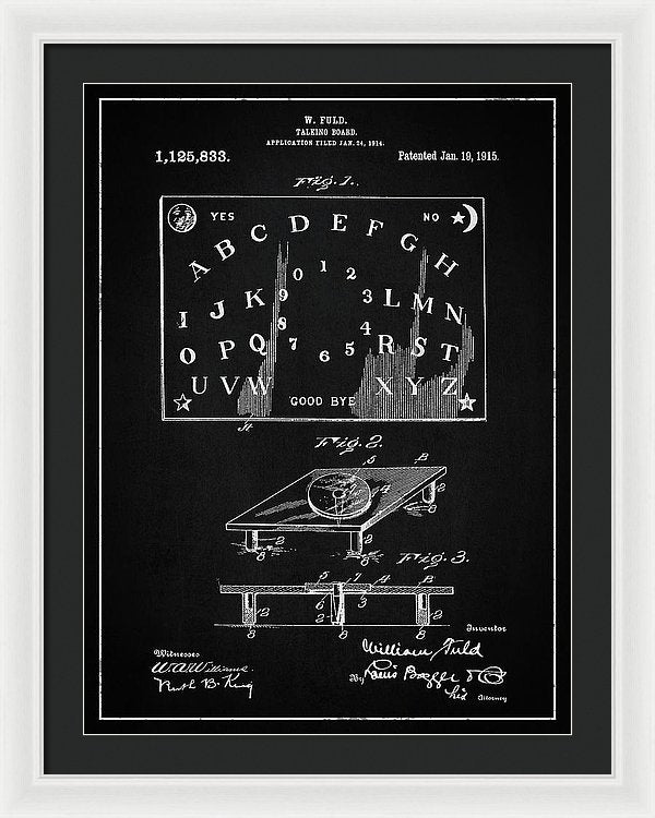 Vintage Talking Board Patent, 1915 - Framed Print from Wallasso - The Wall Art Superstore
