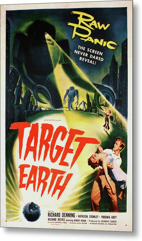 Vintage Target Earth Scifi Movie Poster, 1954 - Metal Print from Wallasso - The Wall Art Superstore