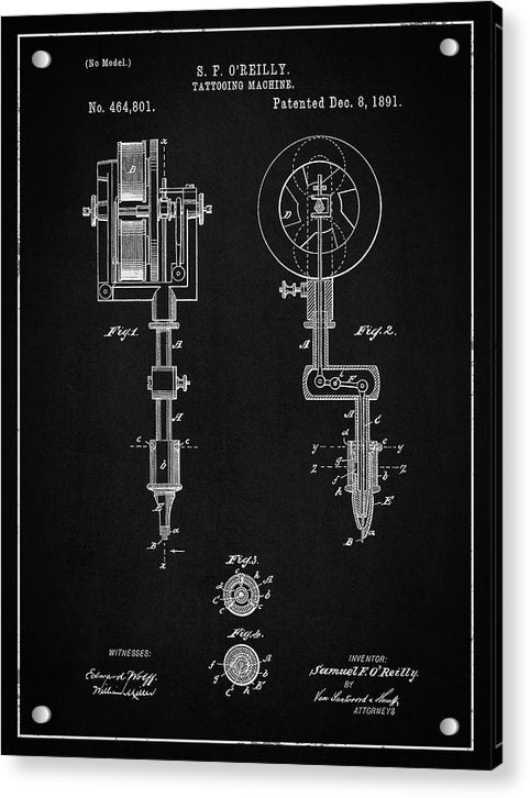 Vintage Tattoo Gun Patent, 1891 - Acrylic Print from Wallasso - The Wall Art Superstore