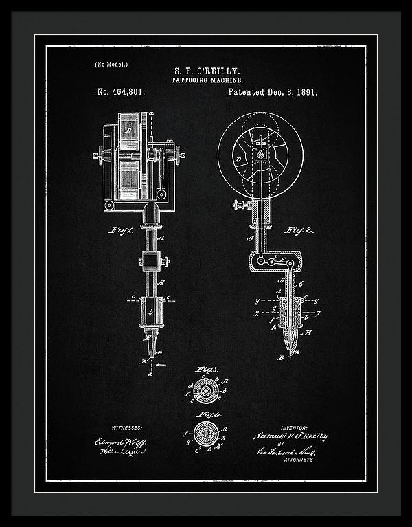 Vintage Tattoo Gun Patent, 1891 - Framed Print from Wallasso - The Wall Art Superstore