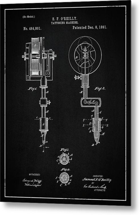 Vintage Tattoo Gun Patent, 1891 - Metal Print from Wallasso - The Wall Art Superstore