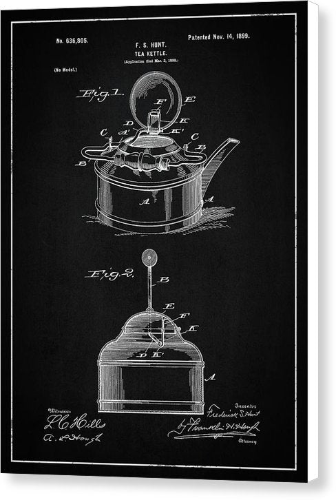 Vintage Tea Kettle Patent, 1899 - Canvas Print from Wallasso - The Wall Art Superstore