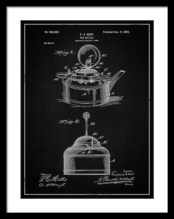 Vintage Tea Kettle Patent, 1899 - Framed Print from Wallasso - The Wall Art Superstore