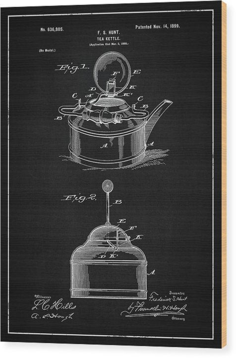 Vintage Tea Kettle Patent, 1899 - Wood Print from Wallasso - The Wall Art Superstore