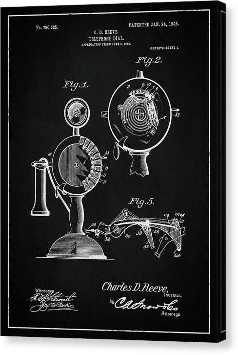 Vintage Telephone Patent, 1905 - Canvas Print from Wallasso - The Wall Art Superstore