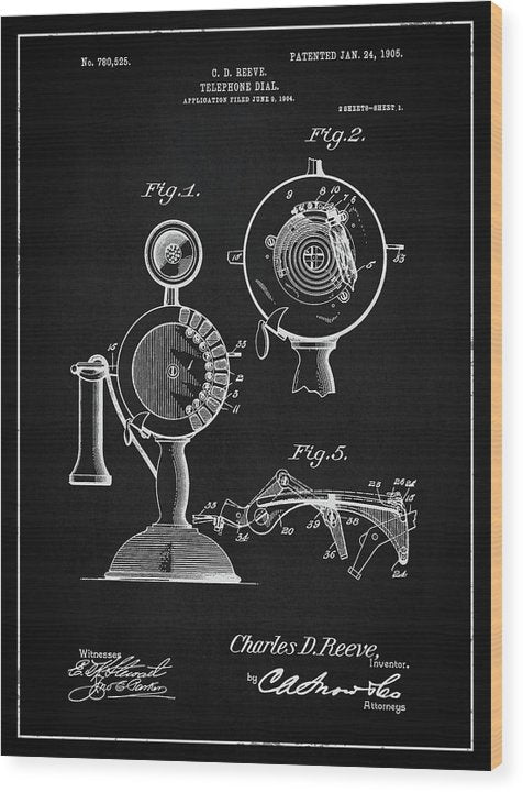 Vintage Telephone Patent, 1905 - Wood Print from Wallasso - The Wall Art Superstore