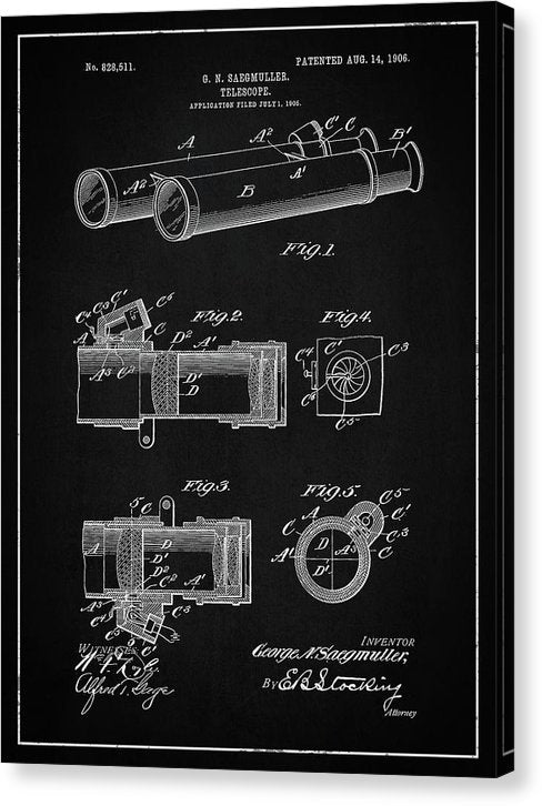 Vintage Telescope Patent, 1906 - Canvas Print from Wallasso - The Wall Art Superstore