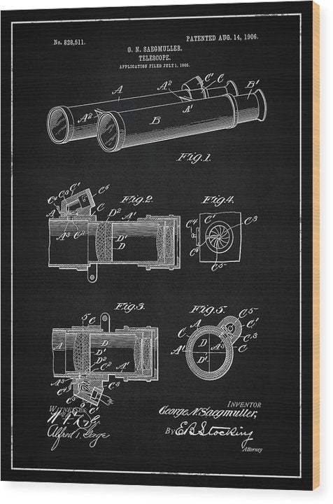 Vintage Telescope Patent, 1906 - Wood Print from Wallasso - The Wall Art Superstore