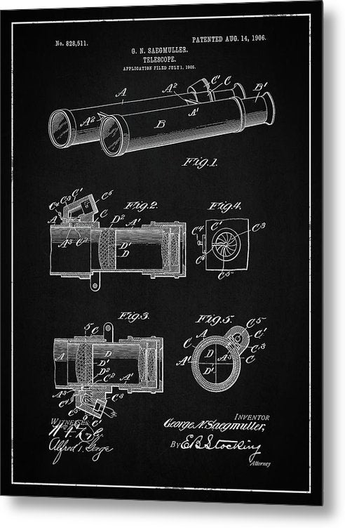 Vintage Telescope Patent, 1906 - Metal Print from Wallasso - The Wall Art Superstore