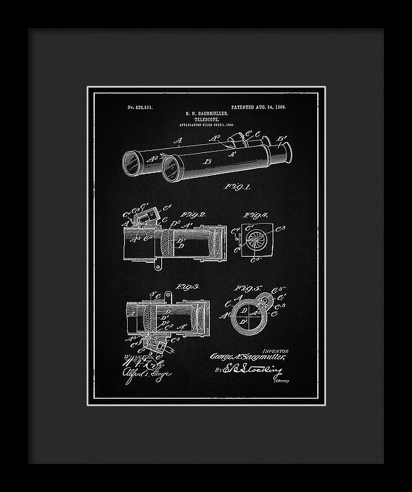 Vintage Telescope Patent, 1906 - Framed Print from Wallasso - The Wall Art Superstore
