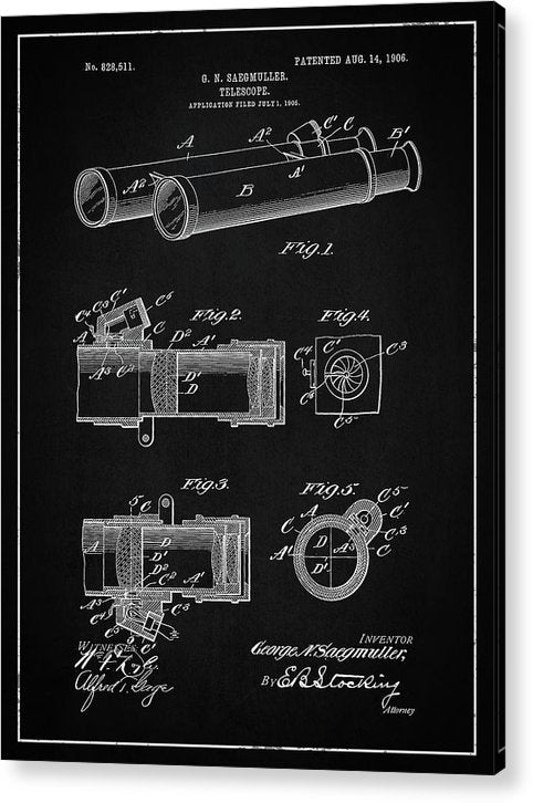 Vintage Telescope Patent, 1906 - Acrylic Print from Wallasso - The Wall Art Superstore