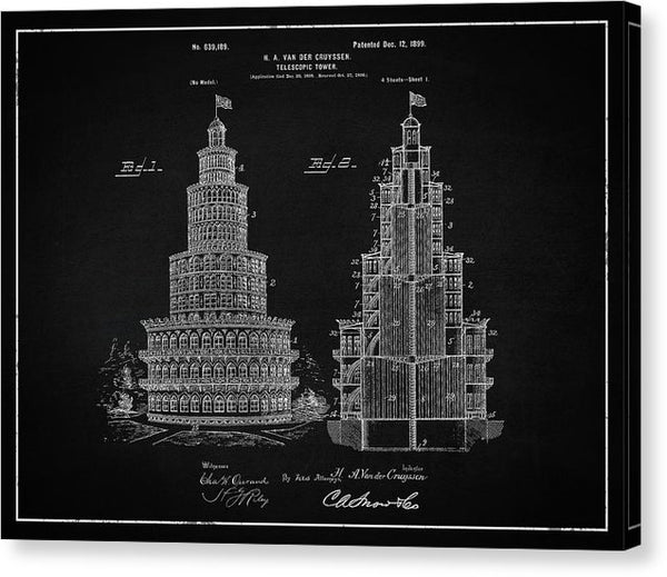 Vintage Telescopic Tower Patent, 1899 - Canvas Print from Wallasso - The Wall Art Superstore