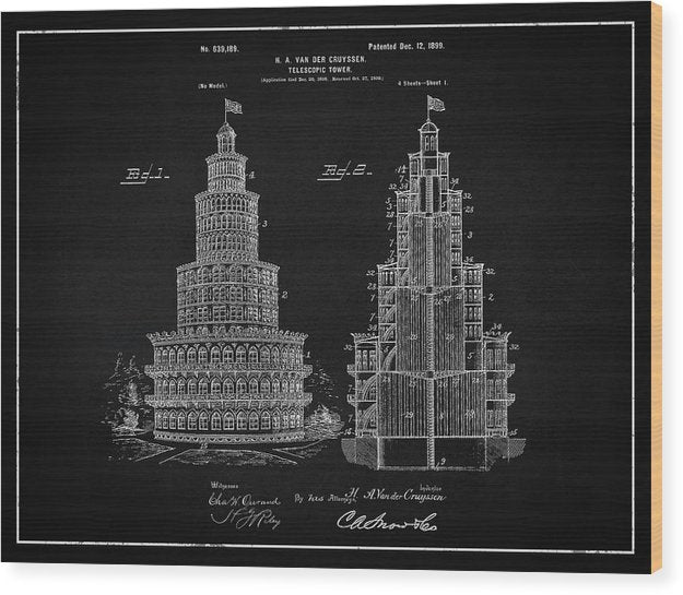 Vintage Telescopic Tower Patent, 1899 - Wood Print from Wallasso - The Wall Art Superstore