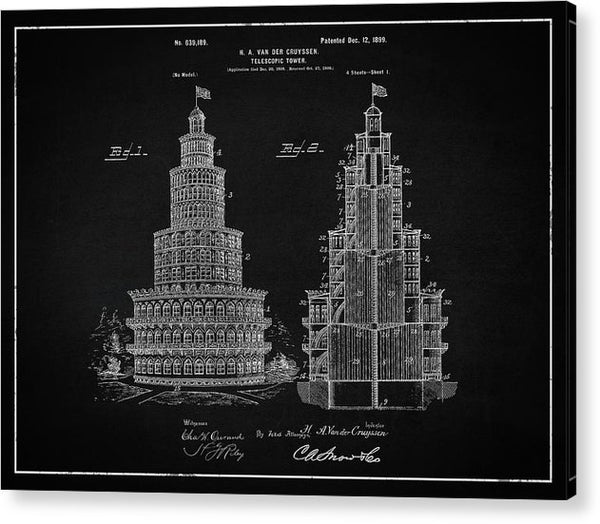 Vintage Telescopic Tower Patent, 1899 - Acrylic Print from Wallasso - The Wall Art Superstore