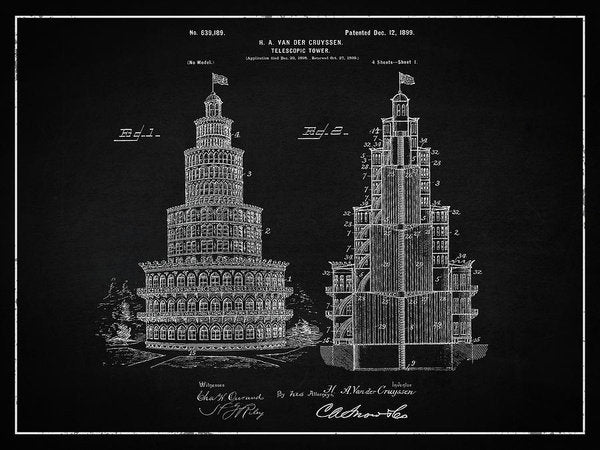 Vintage Telescopic Tower Patent, 1899 - Art Print from Wallasso - The Wall Art Superstore