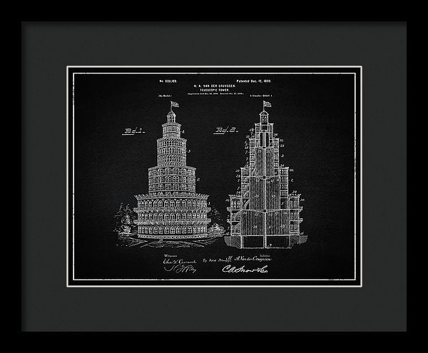 Vintage Telescopic Tower Patent, 1899 - Framed Print from Wallasso - The Wall Art Superstore