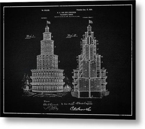 Vintage Telescopic Tower Patent, 1899 - Metal Print from Wallasso - The Wall Art Superstore