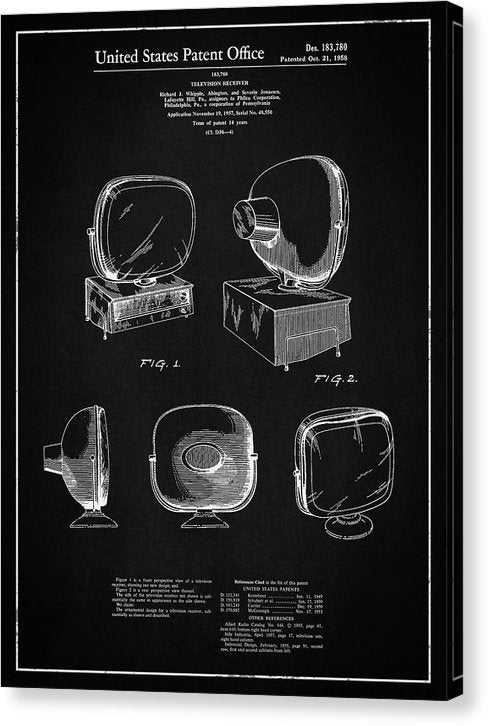 Vintage Television Patent, 1958 - Canvas Print from Wallasso - The Wall Art Superstore