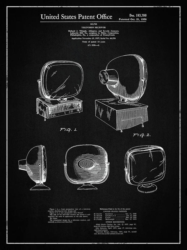 Vintage Television Patent, 1958 - Art Print from Wallasso - The Wall Art Superstore