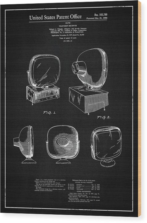 Vintage Television Patent, 1958 - Wood Print from Wallasso - The Wall Art Superstore