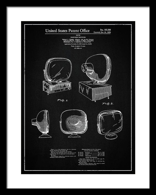 Vintage Television Patent, 1958 - Framed Print from Wallasso - The Wall Art Superstore
