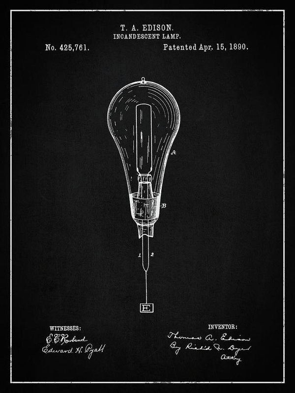 Vintage Thomas Edison Light Bulb Patent, 1890 - Art Print from Wallasso - The Wall Art Superstore
