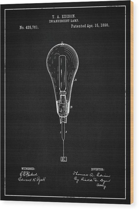 Vintage Thomas Edison Light Bulb Patent, 1890 - Wood Print from Wallasso - The Wall Art Superstore