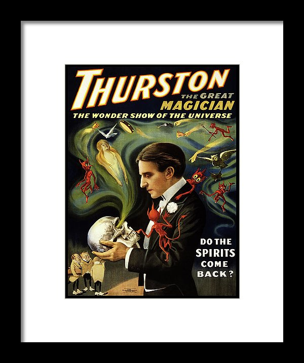 Vintage Thurston Do The Spirits Come Back Poster (No Border), 1915 - Framed Print from Wallasso - The Wall Art Superstore