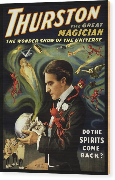 Vintage Thurston Do The Spirits Come Back Poster (No Border), 1915 - Wood Print from Wallasso - The Wall Art Superstore