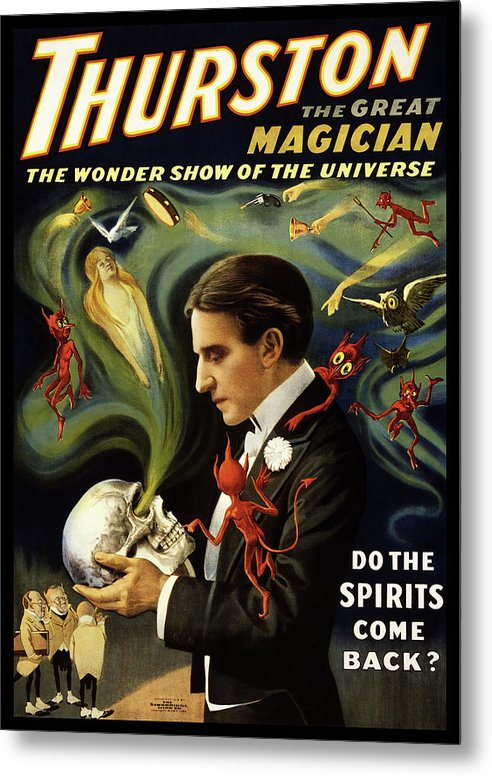 Vintage Thurston Do The Spirits Come Back Poster (No Border), 1915 - Metal Print from Wallasso - The Wall Art Superstore