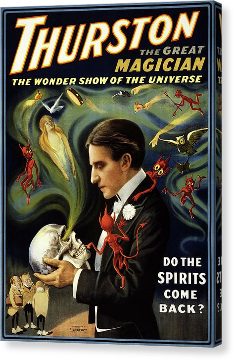 Vintage Thurston The Great Magician Spirits Come Back Poster, 1915 - Canvas Print from Wallasso - The Wall Art Superstore