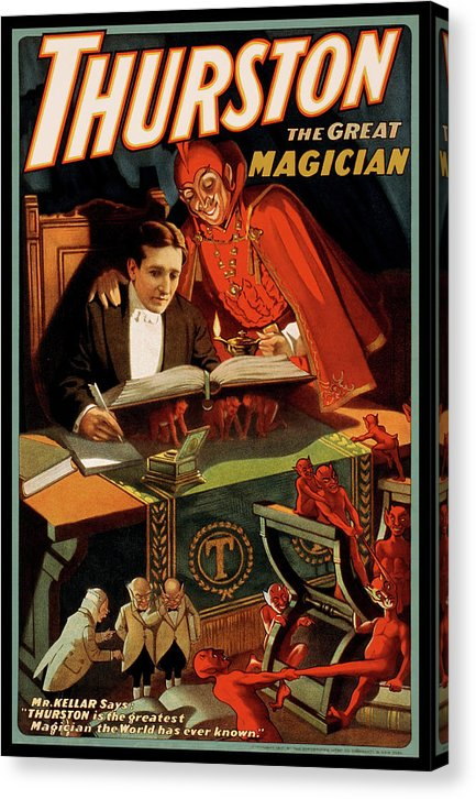 Vintage Thurston The Great Magician With Devil Poster, 1915 - Canvas Print from Wallasso - The Wall Art Superstore