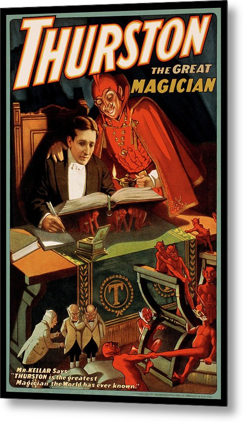 Vintage Thurston The Great Magician With Devil Poster, 1915 - Metal Print from Wallasso - The Wall Art Superstore