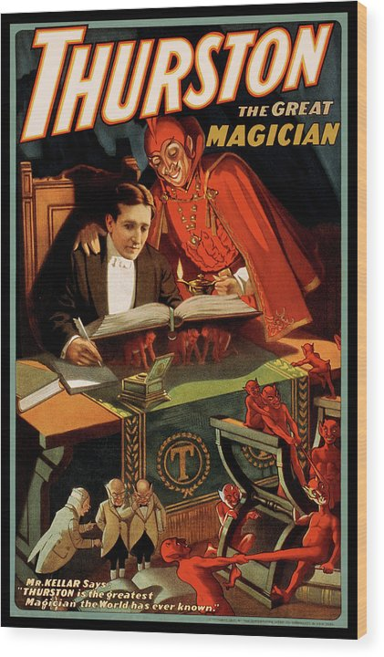 Vintage Thurston The Great Magician With Devil Poster, 1915 - Wood Print from Wallasso - The Wall Art Superstore