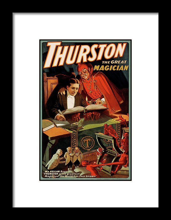 Vintage Thurston The Great Magician With Devil Poster, 1915 - Framed Print from Wallasso - The Wall Art Superstore