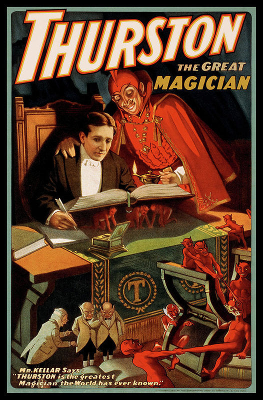 Vintage Thurston The Great Magician With Devil Poster, 1915 - Art Print from Wallasso - The Wall Art Superstore