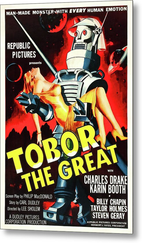 Vintage Tobor The Great Scifi Movie Poster, 1954 - Metal Print from Wallasso - The Wall Art Superstore
