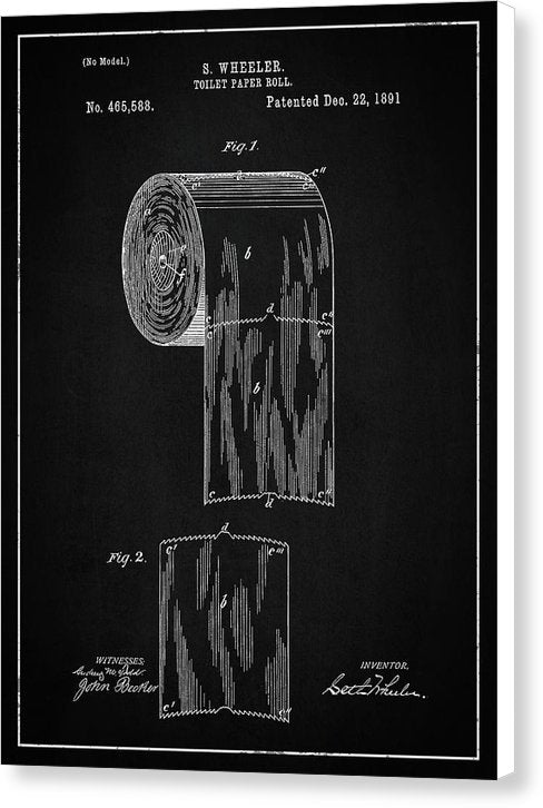 Vintage Toilet Paper Patent, 1891 - Canvas Print from Wallasso - The Wall Art Superstore