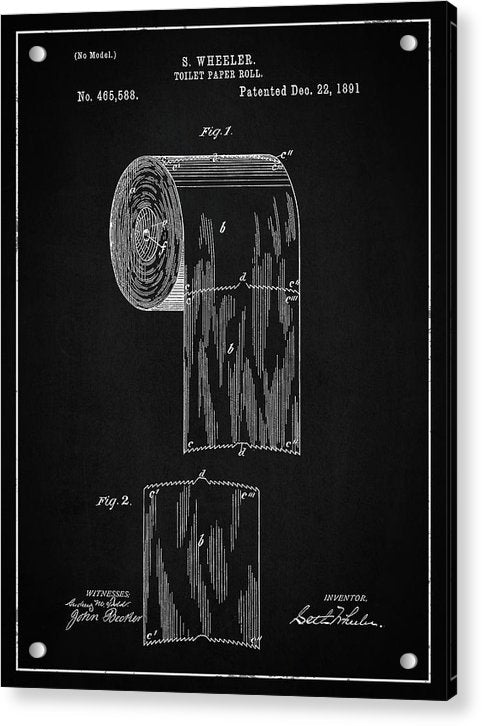 Vintage Toilet Paper Patent, 1891 - Acrylic Print from Wallasso - The Wall Art Superstore