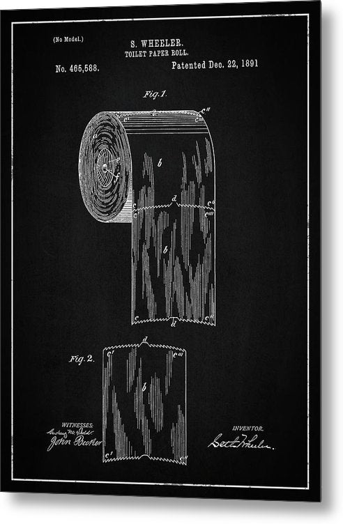 Vintage Toilet Paper Patent, 1891 - Metal Print from Wallasso - The Wall Art Superstore