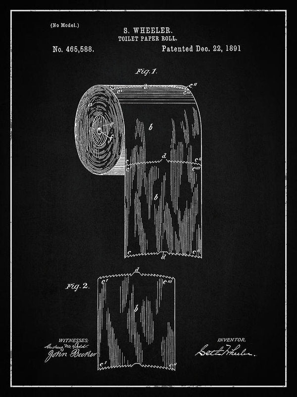 Vintage Toilet Paper Patent, 1891 - Art Print from Wallasso - The Wall Art Superstore