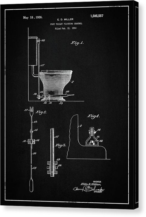 Vintage Toilet Patent, 1926 - Canvas Print from Wallasso - The Wall Art Superstore