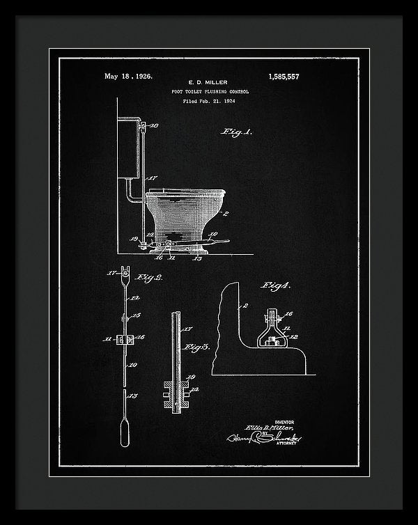 Vintage Toilet Patent, 1926 - Framed Print from Wallasso - The Wall Art Superstore