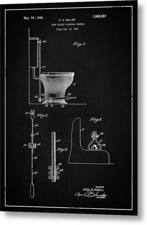 Vintage Toilet Patent, 1926 - Metal Print from Wallasso - The Wall Art Superstore