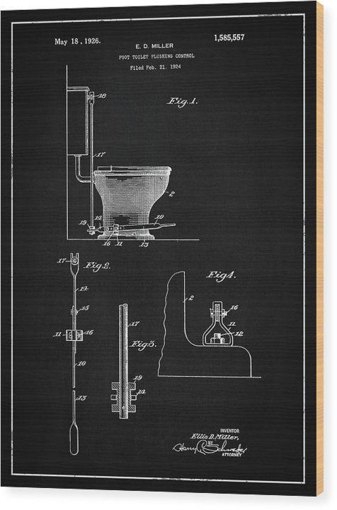 Vintage Toilet Patent, 1926 - Wood Print from Wallasso - The Wall Art Superstore