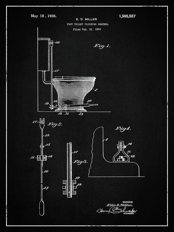 Vintage Toilet Patent, 1926 - Art Print from Wallasso - The Wall Art Superstore