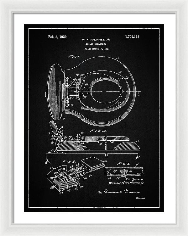 Vintage Toilet Seat Patent, 1929 - Framed Print from Wallasso - The Wall Art Superstore