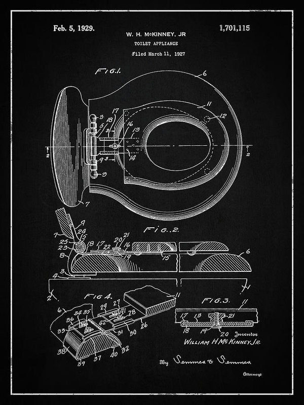 Vintage Toilet Seat Patent, 1929 - Art Print from Wallasso - The Wall Art Superstore