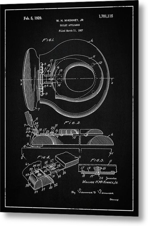 Vintage Toilet Seat Patent, 1929 - Metal Print from Wallasso - The Wall Art Superstore